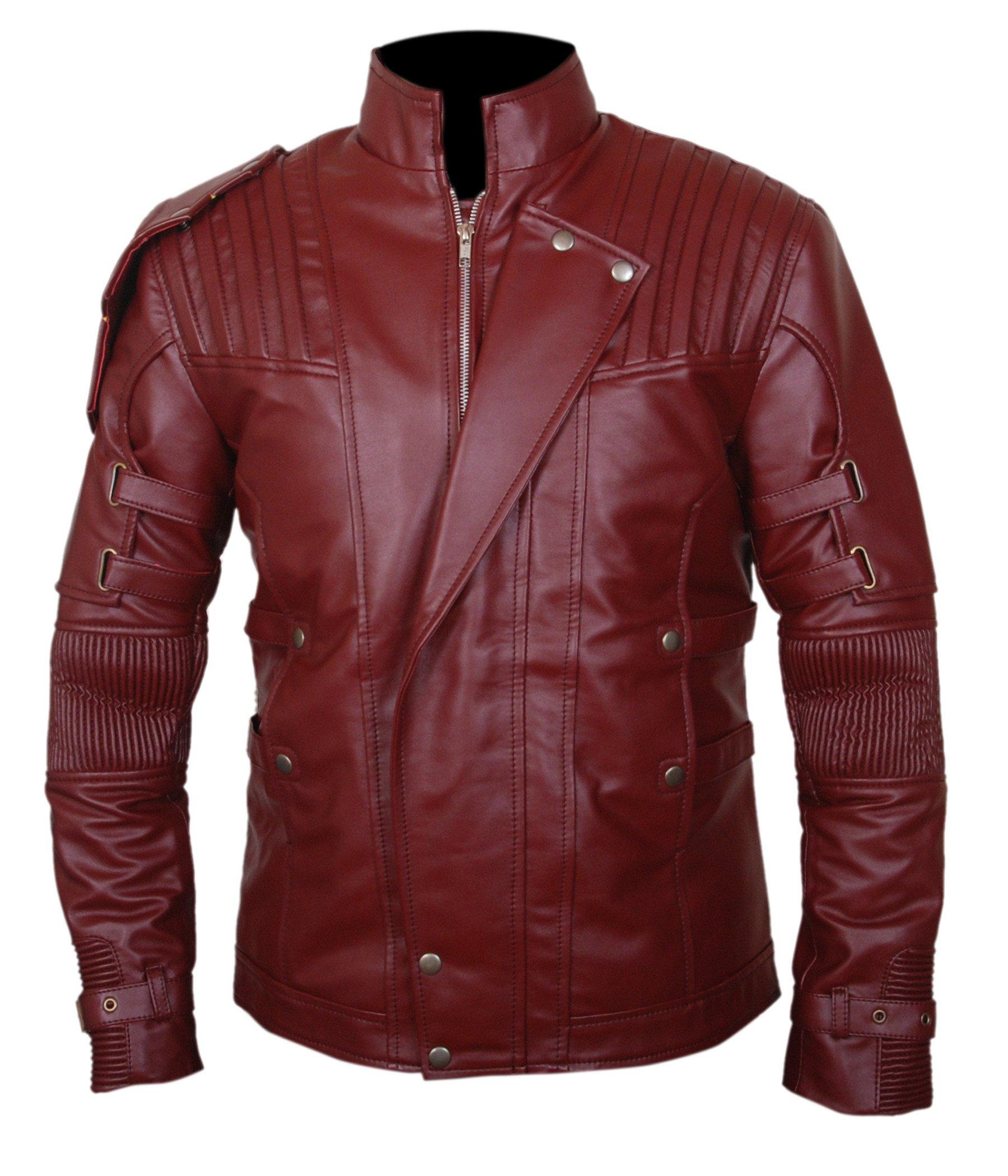 F&H Boy's Guardians Of The Galaxy Vol 2 Chris Pratt Star Lord Genuine Leather Jacket L Maroon by Flesh & Hide