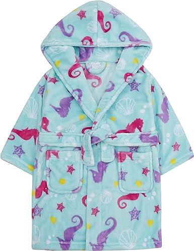 Childrens Girls Pink Seahorse Plush Fleece Dressing Robe and Cotton Pyjama Set