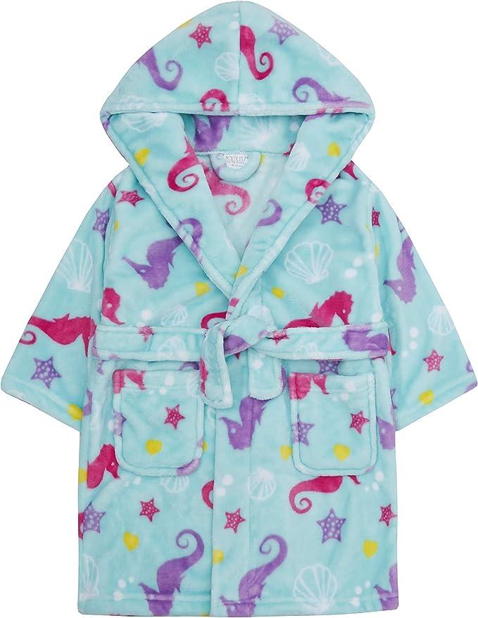 per bambine Metzuyan Vestaglia in morbido pile con cappuccio abbellita da motivi raffiguranti unicorni 2-6 anni cavallucci marini o arcobaleni