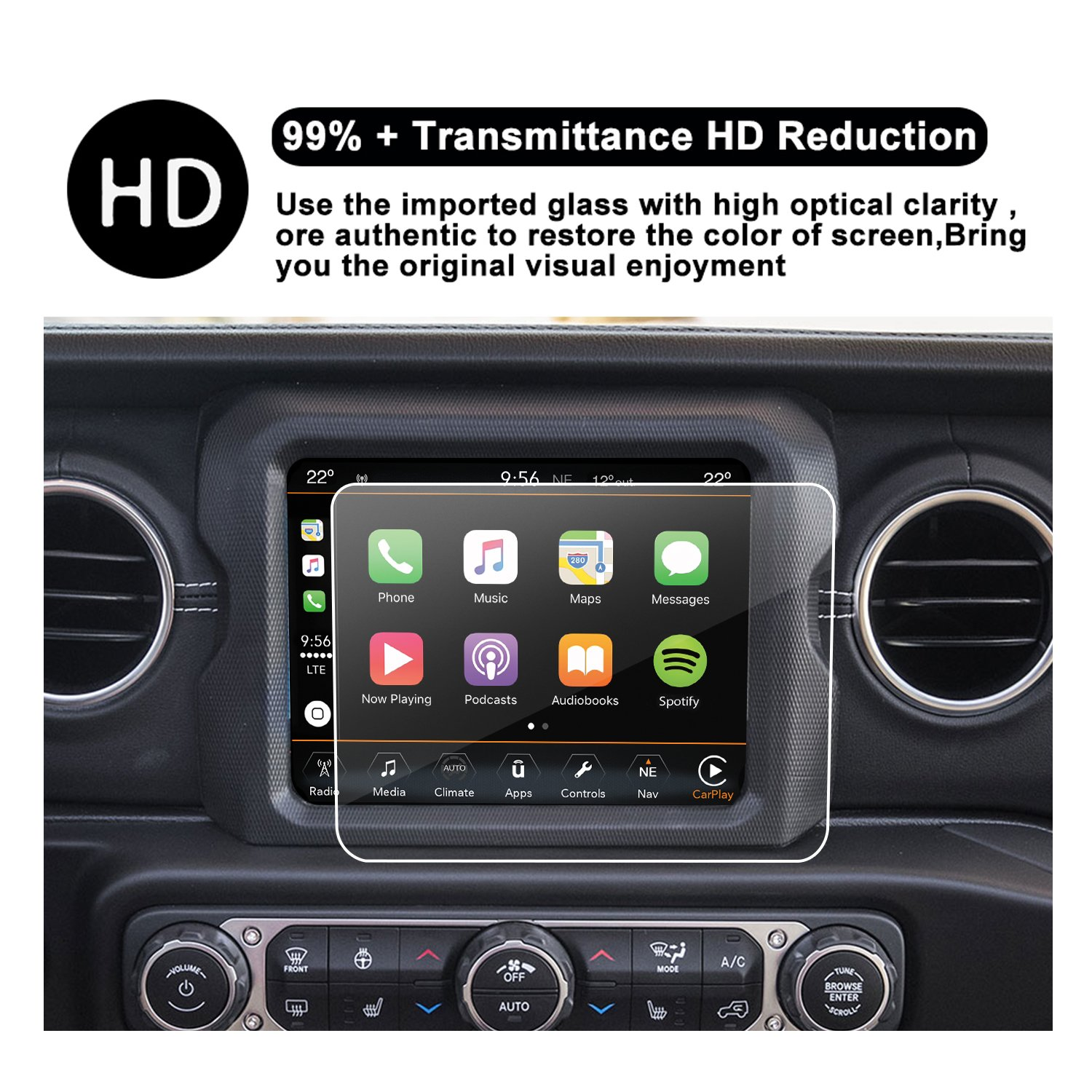 R RUIYA HD Clear Tempered Glass Protective Film Against Scratch High Clarity 2018 JW8.4 2018 Jeep Wrangler JL Uconnect Touch Screen Protector 8.4-Inch