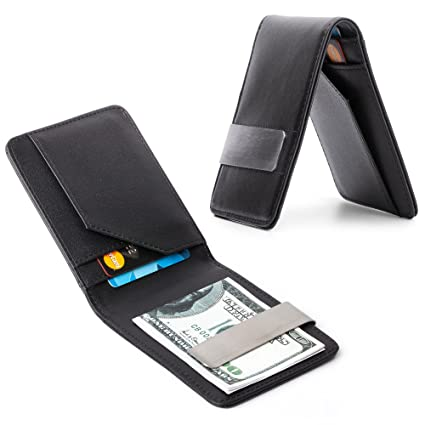 innovative design fbfd2 42ca6 Money Clip Minimalist Wallet for Men   Black Slim Front Pocket Leather  Travel Credit Card and ID Holder   Perfect Billfold to Keep Your Business  ...
