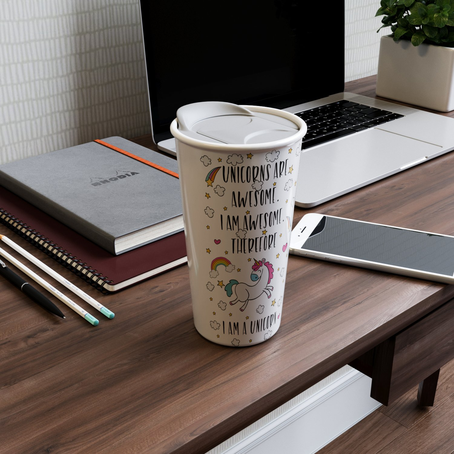 Ceramic Travel Coffee Mug with Lid (12 oz) - Unicorns Are Awesome - I am Awesome - Therefore I Am A Unicorn - Funny Coffee Mug - Double Wall Ceramic - BPA-Free Lid - Dishwasher Safe. 5.6''x 3.5'' by Comfify (Image #3)
