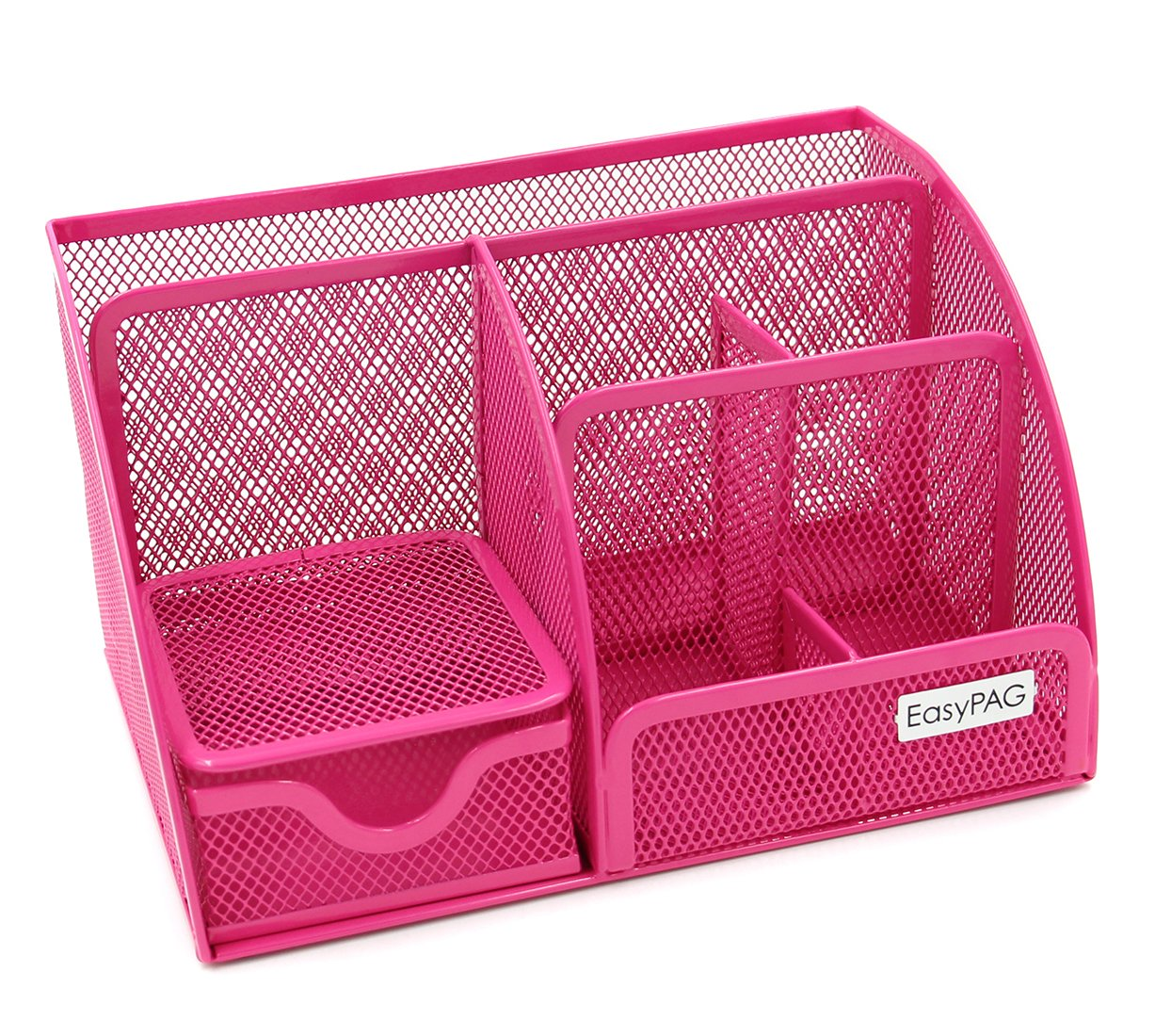 EasyPAG Mesh Office Desk Organizer 6 Compartments with Drawer,Pink