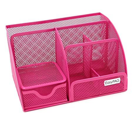 Awesome EasyPAG Mesh Office Desk Organizer 6 Compartments With Drawer ,Pink