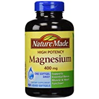 Nature Made High Potency Magnesium 400 mg - 150 Liquid Softgels,(Pack of 2)