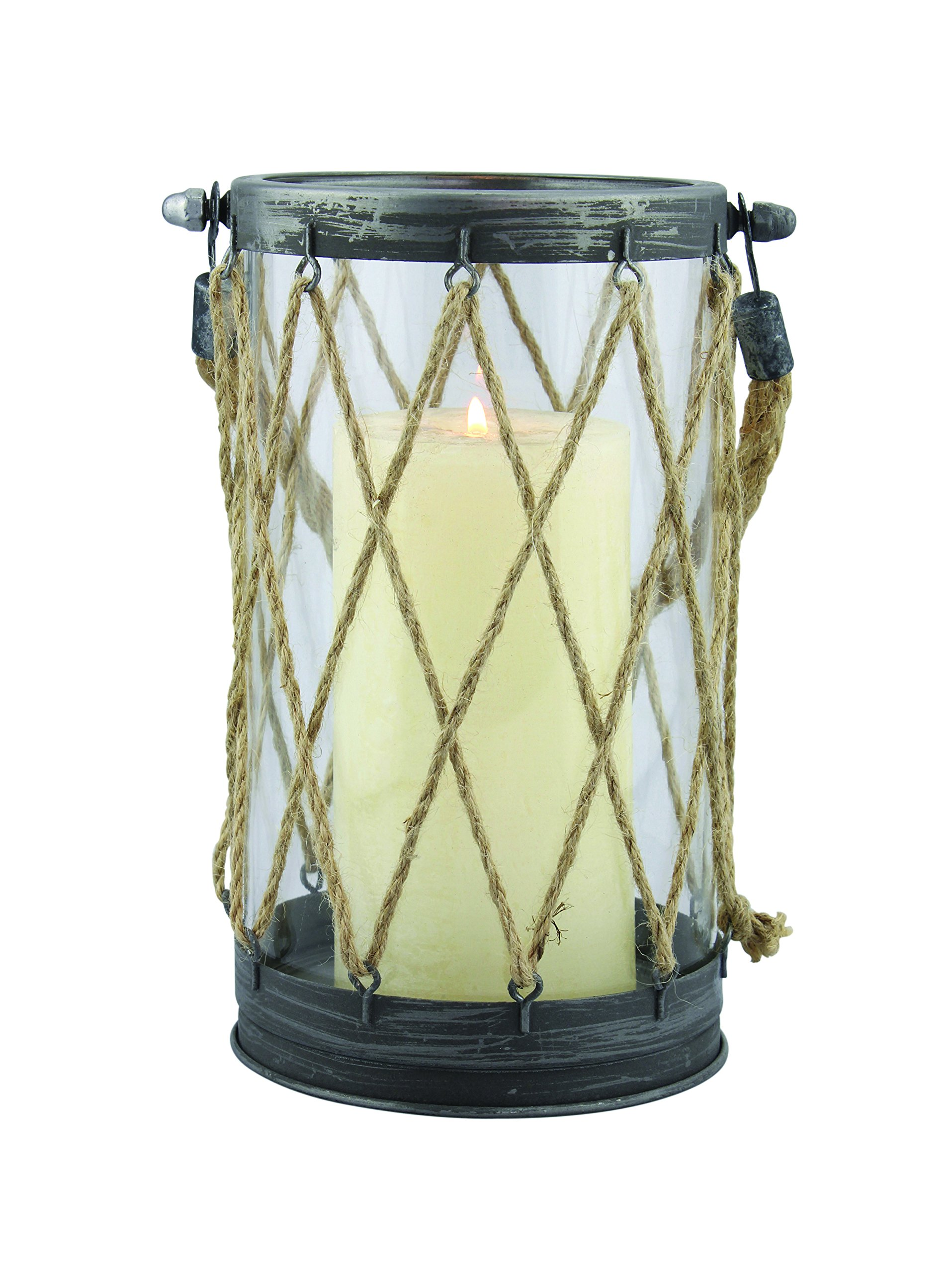 Stonebriar Nautical Antique Zinc and Twine Cylinder Hurricane Candle Lantern with Rope Handle, Coastal Decor Accents for Weddings, Birthdays, Events, or Everyday Home Decor, Tall