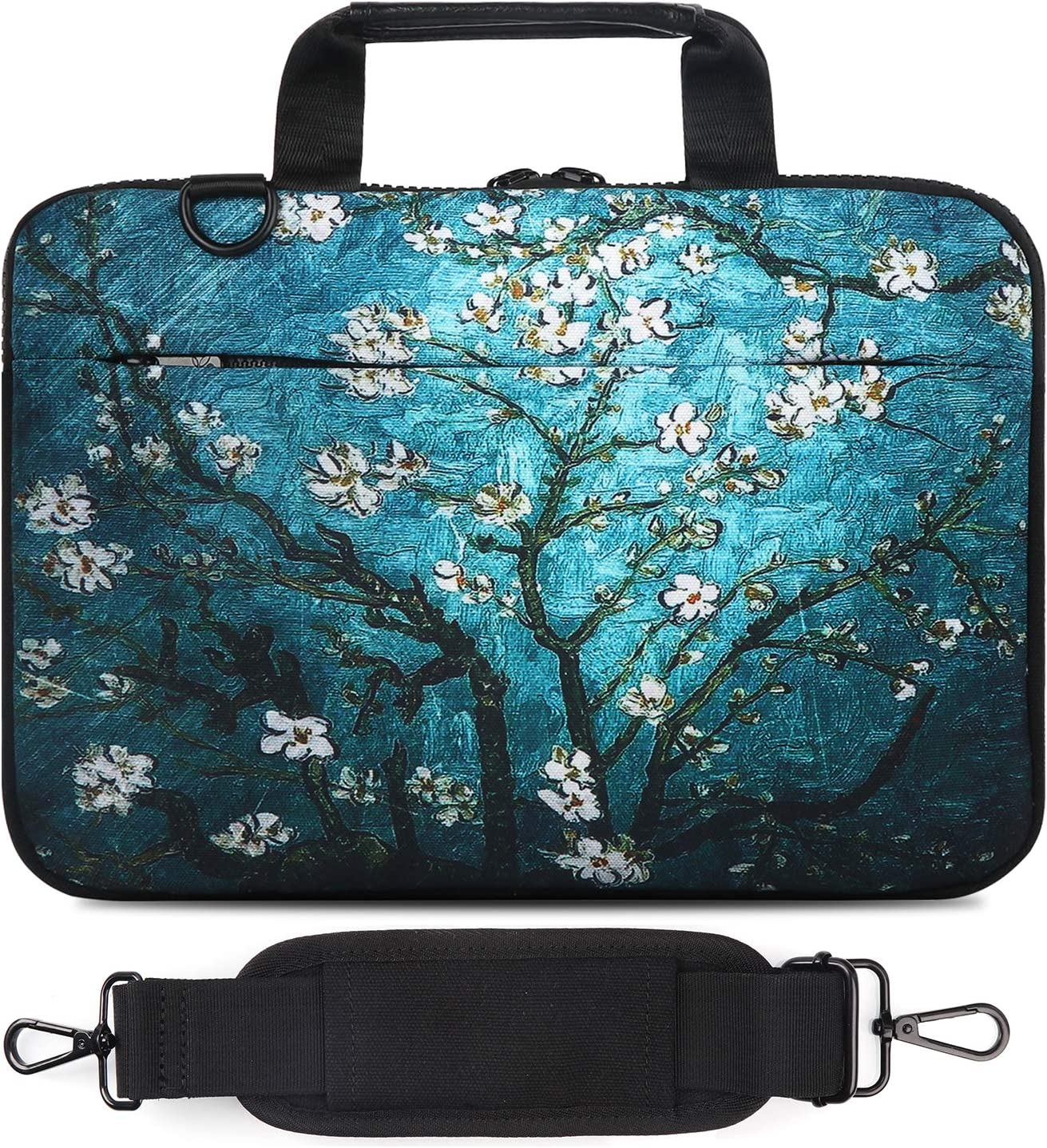 Holilife 14-15.6 Inch Laptop Shoulder Bag, Protective Notebook Messenger Briefcase Compatible with MacBook Air MacBook Pro Ultrabook Chromebook, Blooming Apricot Flower