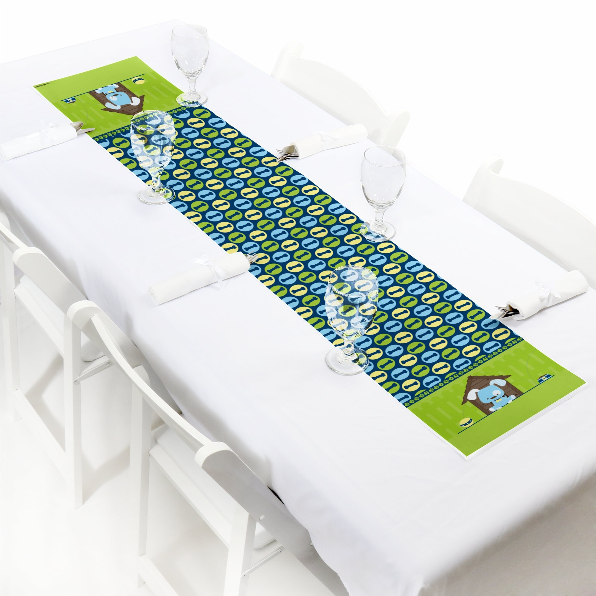 Boy Puppy Dog - Petite Baby Shower or Birthday Party Paper Table Runner - 12'' x 60''
