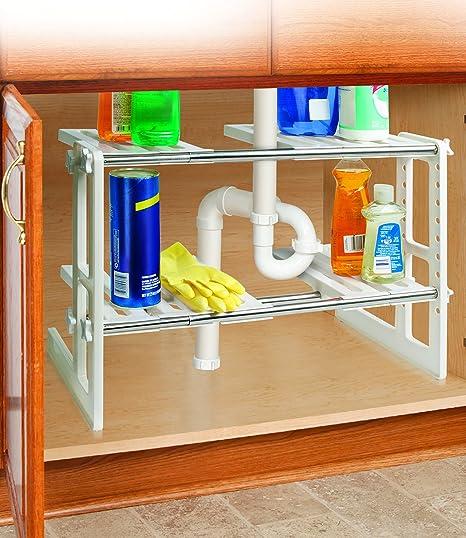 Awesome 2 Tier Adjustable Under Sink Storage Shelves 17 5 To 29 5 Steel Download Free Architecture Designs Itiscsunscenecom