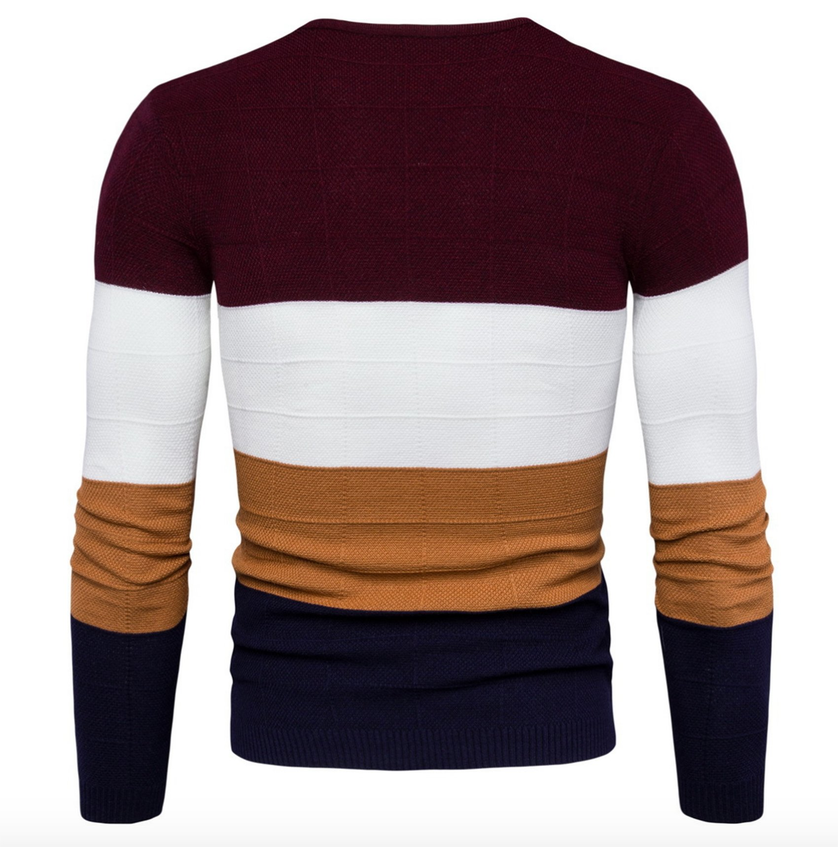 WSLCN Mens Chic Fine Knit V-Neck Coton Jumper Pullover Contrast Color Sweater Red US S (Asian L) by WSLCN (Image #3)