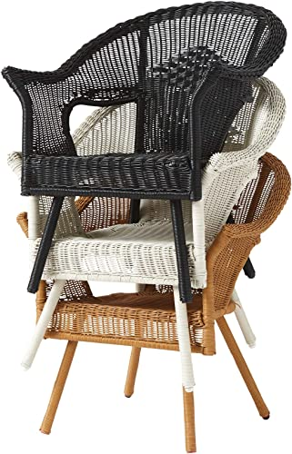 BrylaneHome Roma All-Weather Wicker Stacking Chair w Free'seat Back Cushion