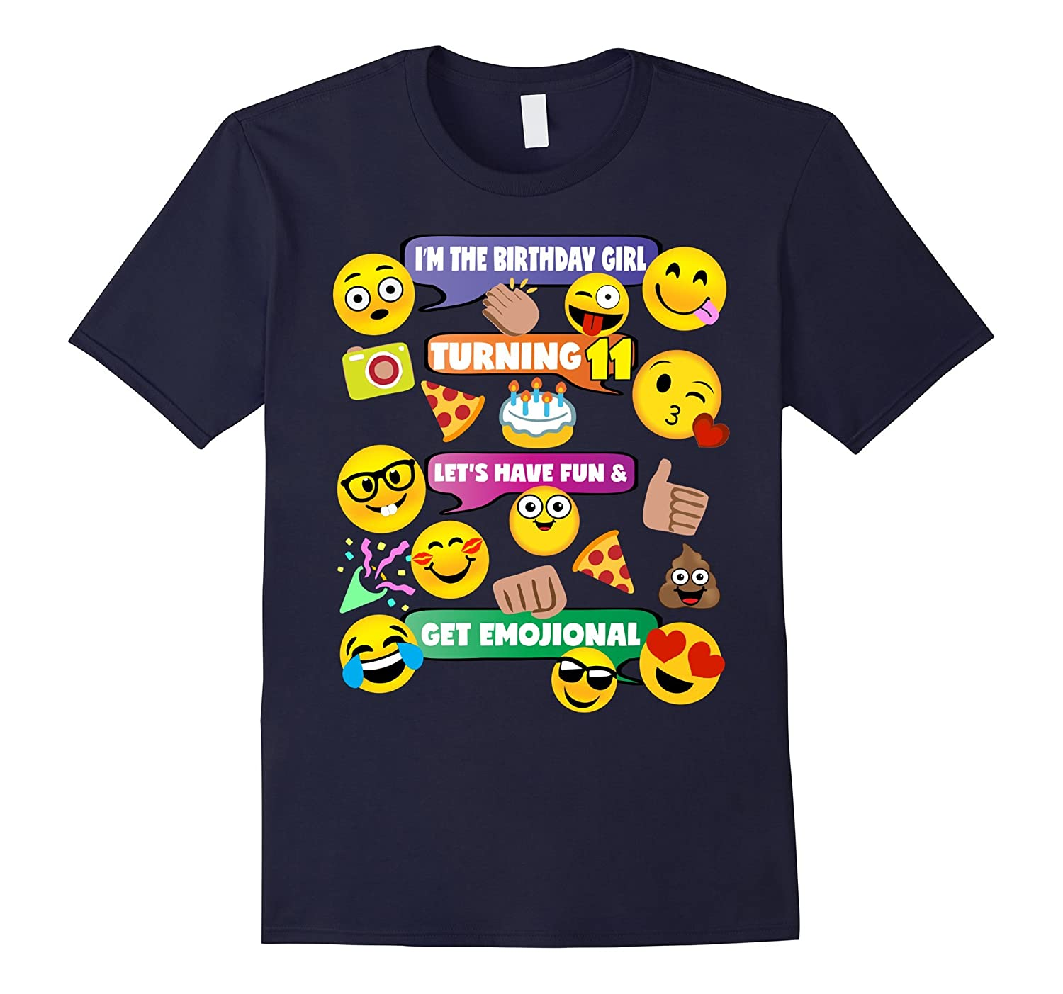 Girls Emoji Birthday Shirt Age 11 Party Theme Outfit