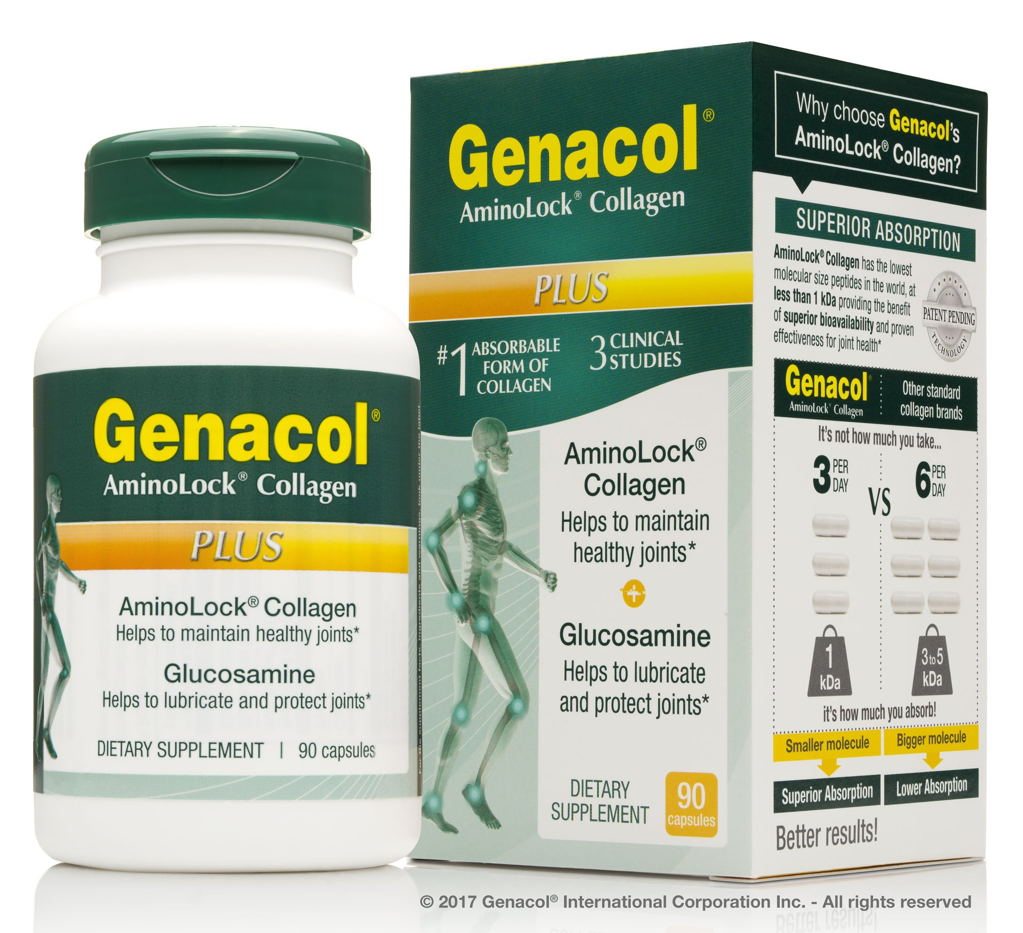 GENACOL Plus Glucosamine + Collagen Joint Supplements for Men and Women - 90 Capsules | Colageno