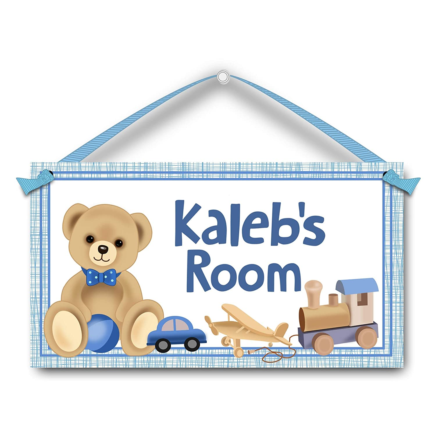 Personalised Handmade Teddy Bear Baby Boys Name Plaque Bedroom Door Sign