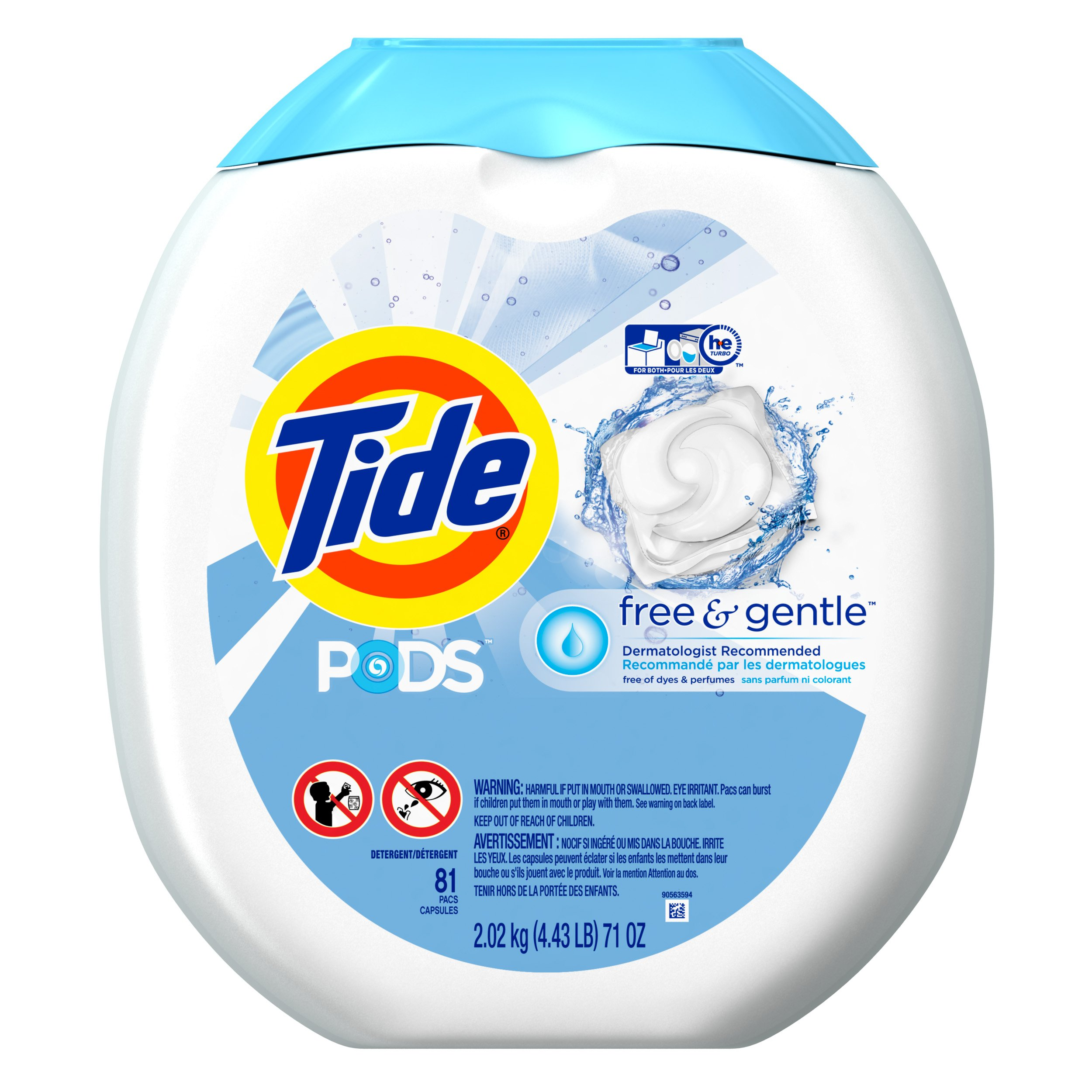 Tide PODS Free Gentle HE Turbo Laundry Detergent Pacs 81 Load Tub Product Image