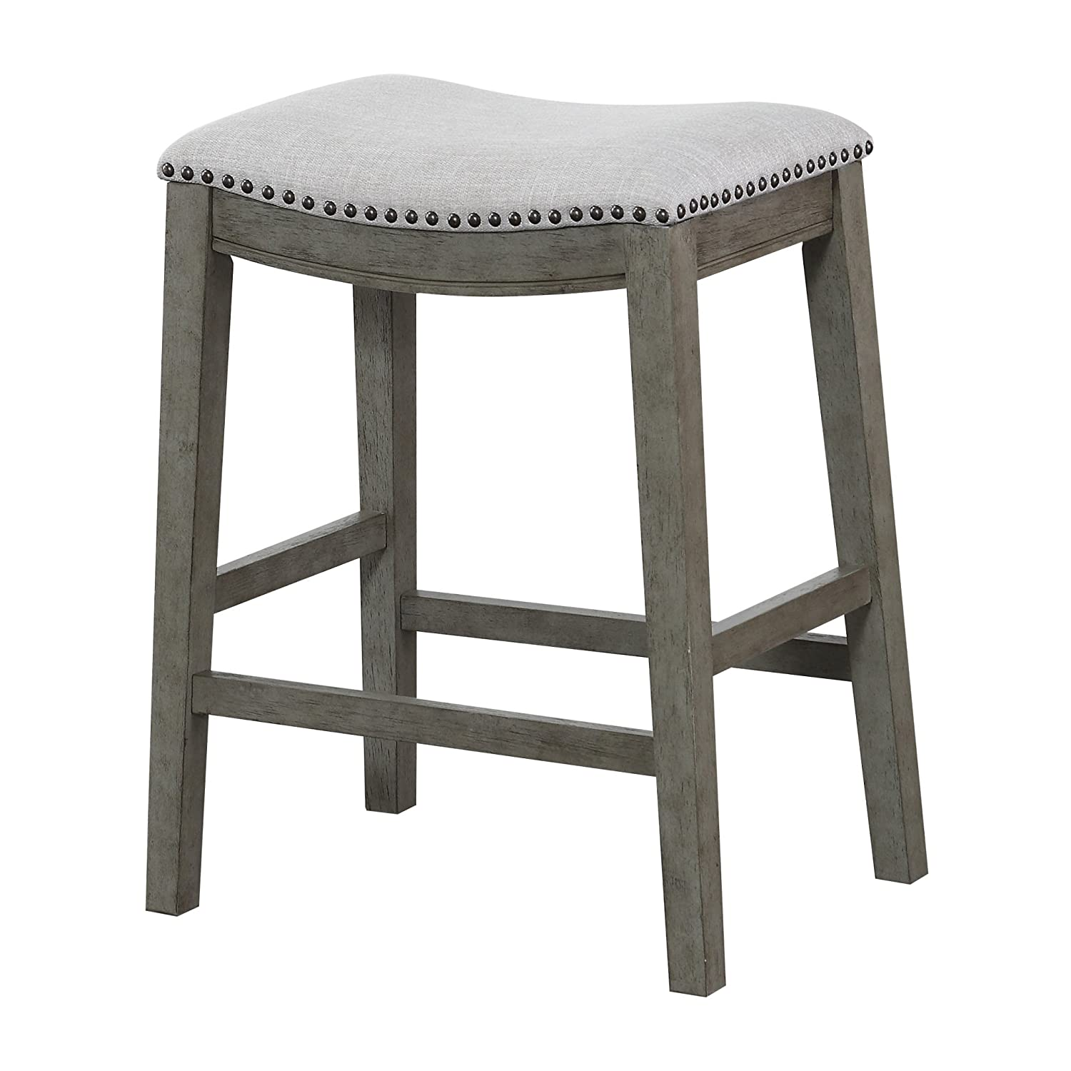 Office Star Saddle Stool with Antique Grey Base, 24-Inch, Grey Fabric