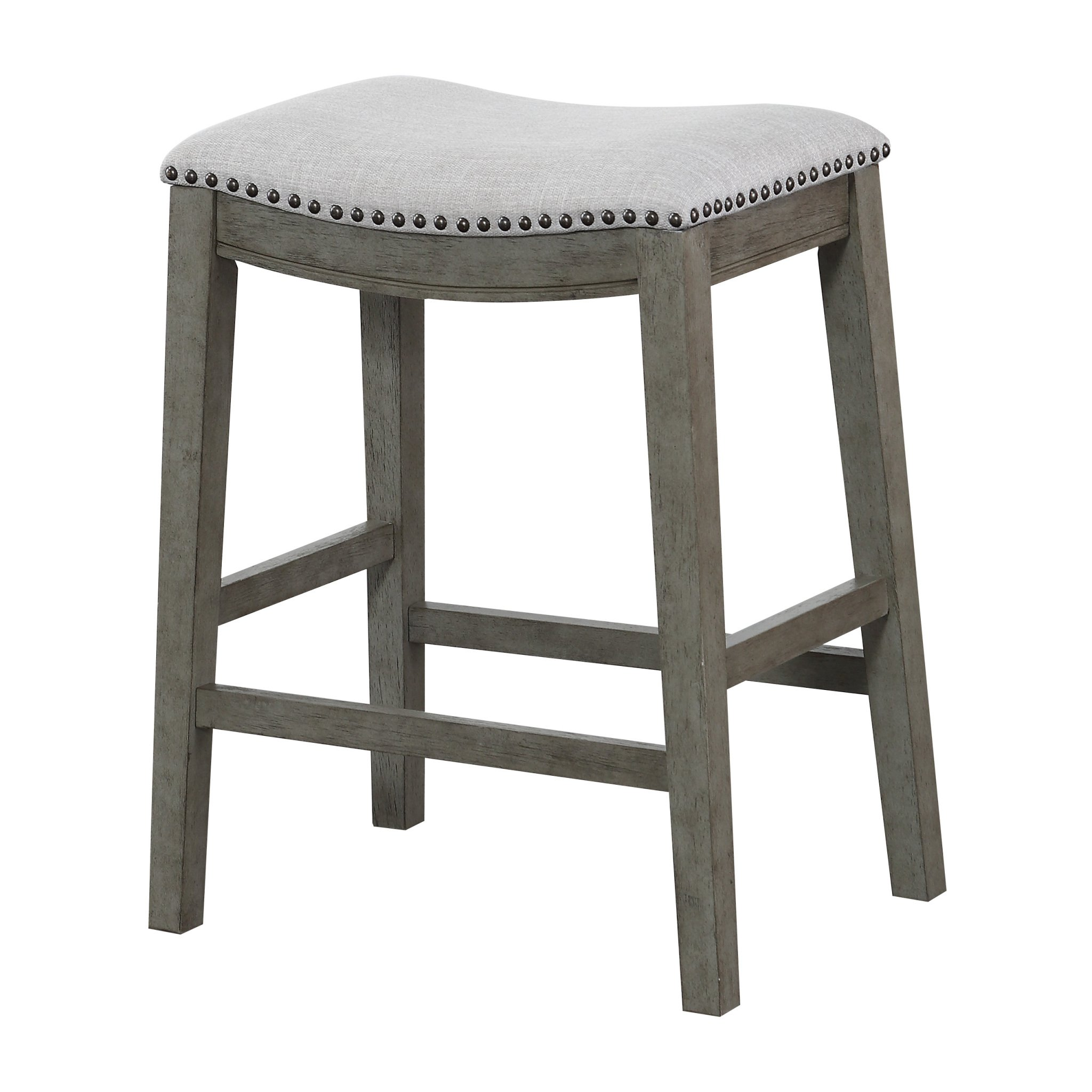 Office Star Saddle Stool with Antique Grey Base, 24-Inch, Grey Fabric by OSP Designs