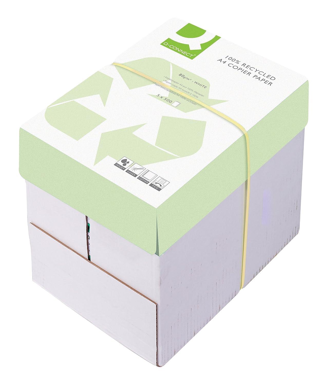 Q Connect - Risma da 500 fogli multifunzionali di formato A4,80g/m2, confezione da5 Carta per fotocopie A4, 80 g/m2 5 KF01047
