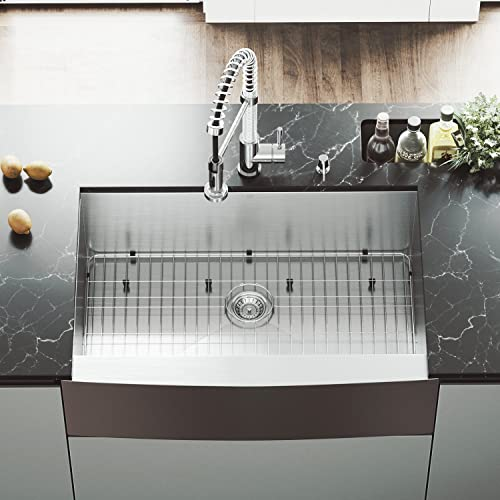 VIGO VG3320CK1 33 Inch Single Bowl 16 Gauge Stainless Steel Commercial Grade Farmhouse Apron Front Kitchen Sink with Grid and Strainer, Rounded Corners and SoundAbsorb Technology