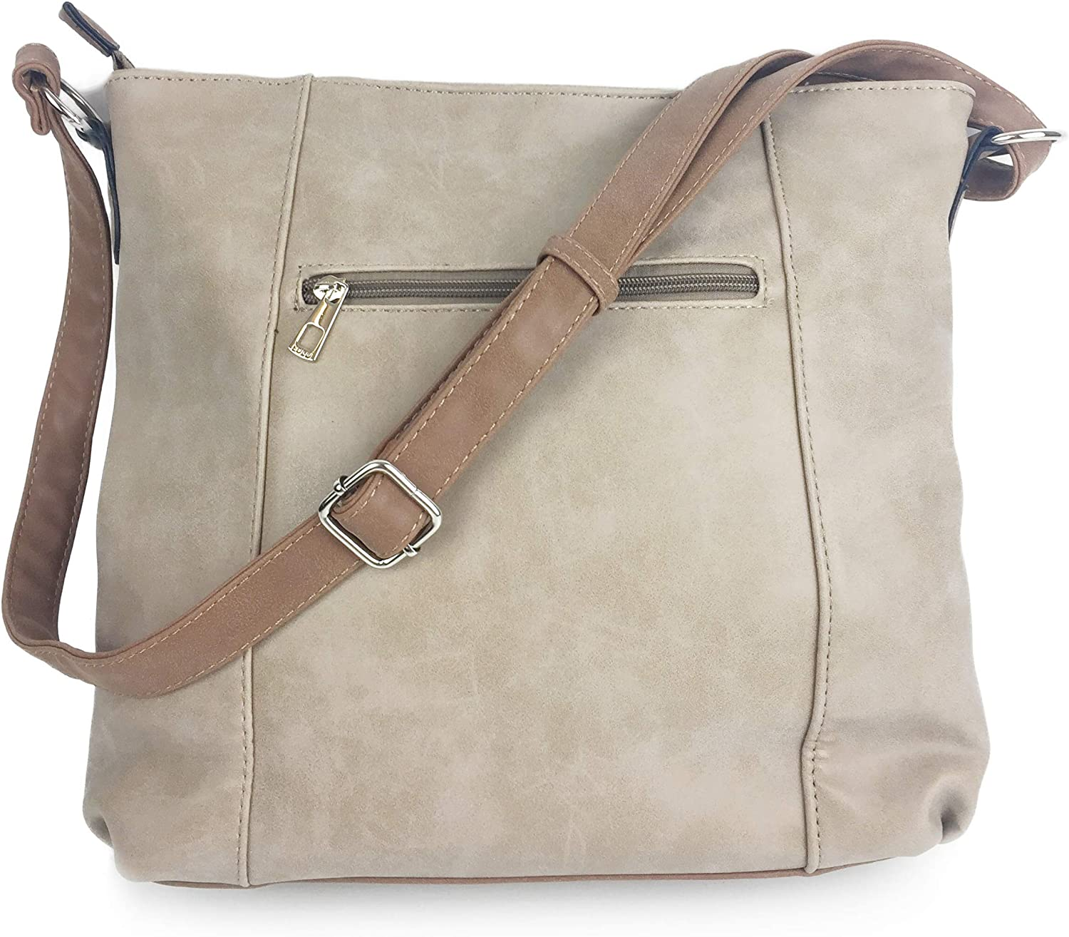 Designer Handbags for Women sale MILANO Classic Italian Styled Fashion Shoulder Bag//Slouch in Beautiful Matt Finish Vintage Faux Nu Buck Leather with Adjustable Shoulder Strap.