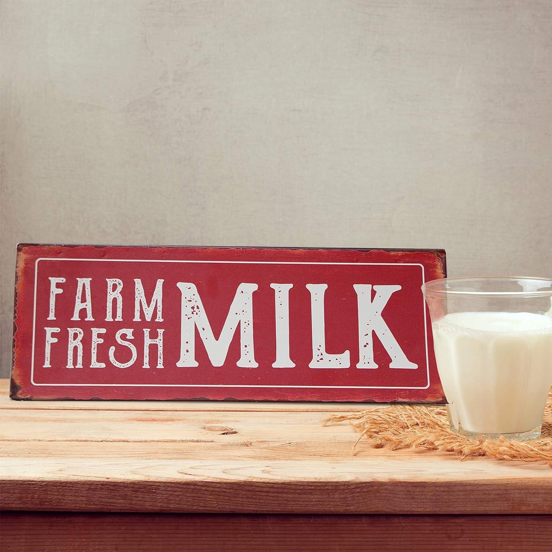 Barnyard Designs Farm Fresh Milk Retro Vintage Tin Bar Sign Country Home Decor 13.75 x 5