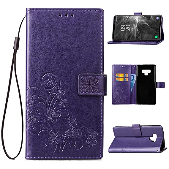 check out 58bed 7463f Galaxy Note 9 Case, Galaxy Note 9 Wallet Case, Crosspace Lucky Flowers PU  Leather Buckle Book Stand Protective Cover with Card Holder Slots and ...