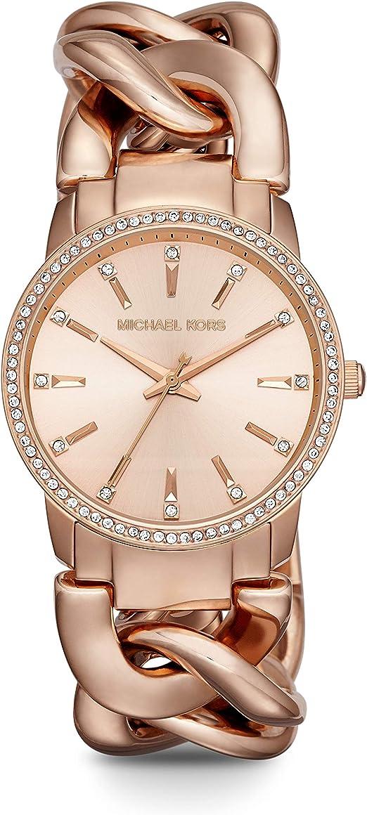 Michael Kors Women's Lady Nini Chain Watch, 3 Hand Quartz Movement with Crystal Bezel