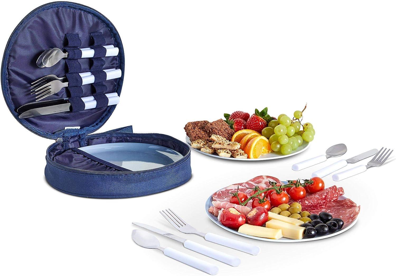 VonShef Set de Picnic para 4 Personas - Juego de Comedor para Picnic con Platos y Cubiertos de Acero Inoxidable. - Cucharas, Cuchillos y Tenedores - Estuche de Almacenamiento