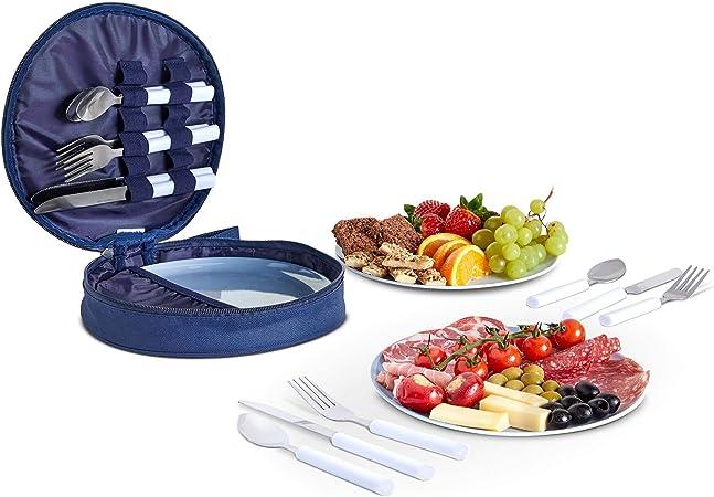 VonShef Set de Picnic para 4 Personas - Juego de Comedor para Picnic con Platos y Cubiertos de Acero Inoxidable. - Cucharas, Cuchillos y Tenedores - ...