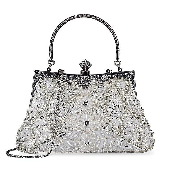 Vintage & Retro Handbags, Purses, Wallets, Bags Kisschic Womens Vintage Beaded and Sequined Evening Bag Wedding Party Handbag Clutch Purse $25.98 AT vintagedancer.com