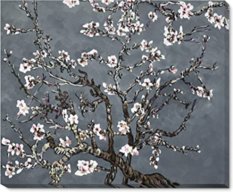 Amazon Com La Pastiche Branches Of An Almond Tree In Blossom Pearl Grey Framed Hand Painted Original Artwork With Gallery Wrap Paintings