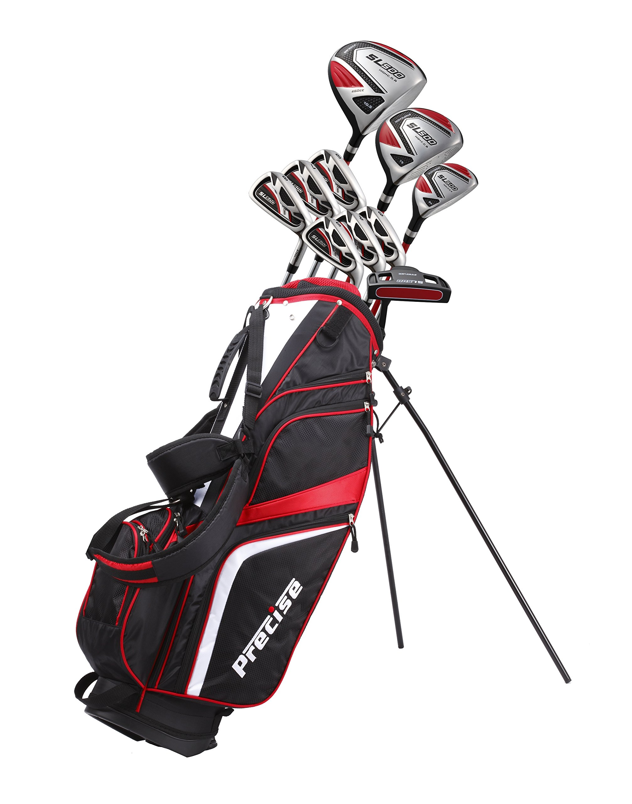 15 Piece Men's Complete Golf Set Includes Titanium Driver, S.S. Fairway, S.S. Hybrid, S.S. 6-SW Irons, Putter, Stand Bag, 3 Head covers Right Hand