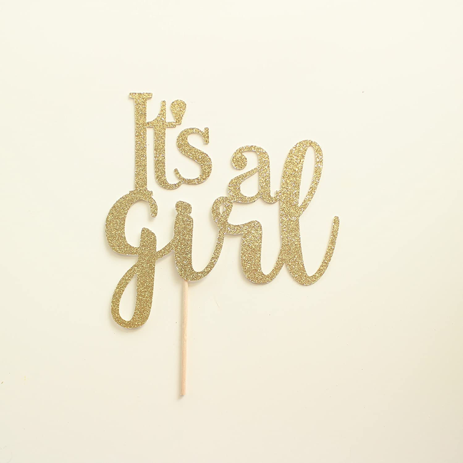 Gold Glitter It's a Girl Cake Topper, Script, Baby Shower, Gender Reveal, Sip and See
