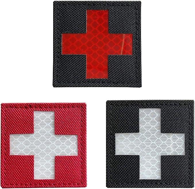 Paquete de 3 piezas – medico reflectante rojo Cruz táctico parche de velcro 2 x 2 pulgadas: Amazon.es: Juguetes y juegos