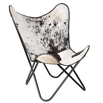 Fell Für Stuhl sessel butterfly kuhfell schwarz echt fell weiß stuhl eisengestell
