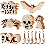 Sumind 60 Pieces Halloween Wooden Slices Wooden Gift Tags Blank Wood Hanging Ornaments Cutouts Crafts with 60 Pieces Twine Ro