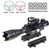 Pinty Rifle Scope 4-16X50 Illuminated Optics Sight Green Laser