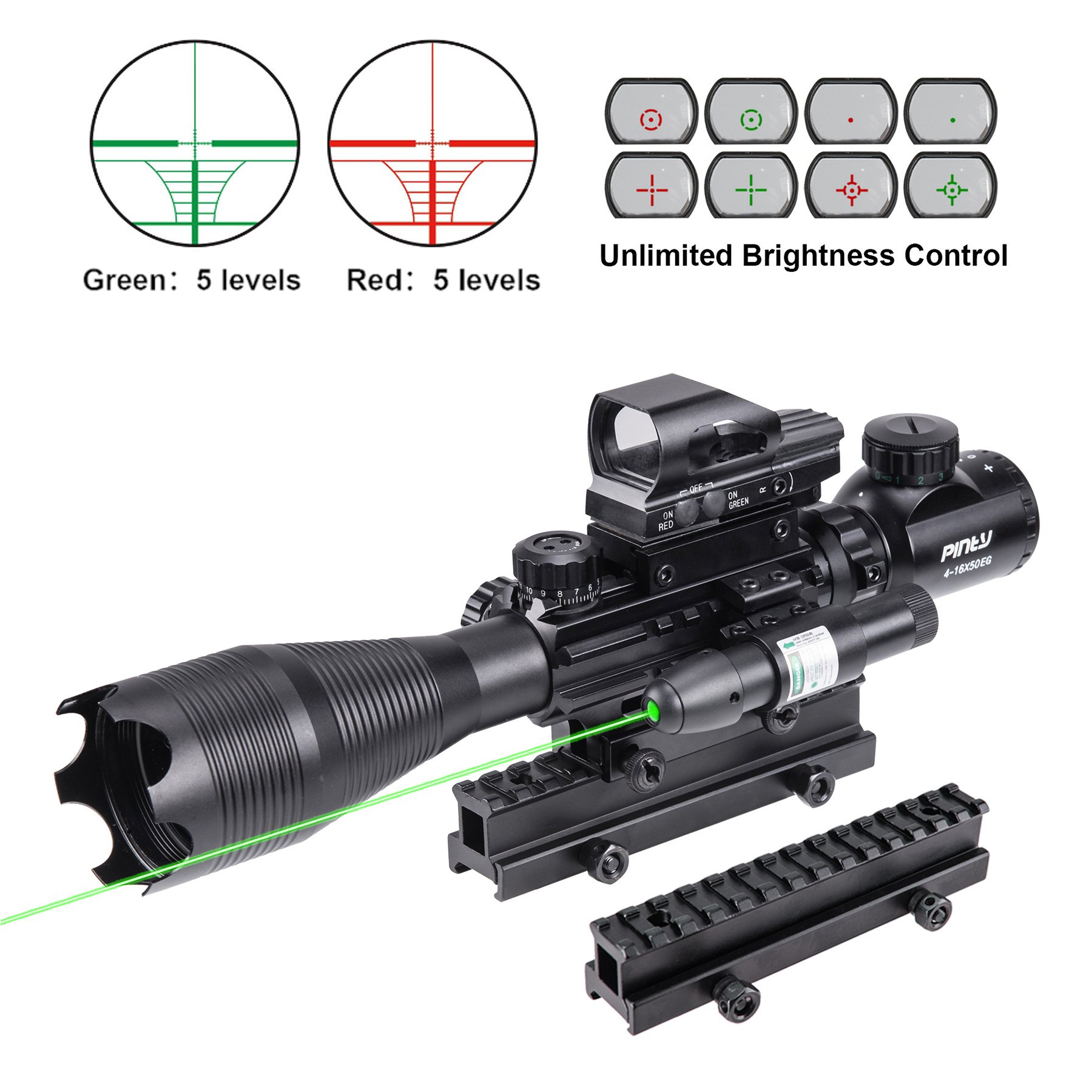 Pinty Rifle Scope 4-16X50 Illuminated Optics Sight Green Laser, Reflex Holographic Dot Sight, Riser Mount 14 Slots 1 inch High Riser Mount by Pinty