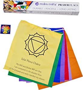 Tibetan Prayer Flag, Himalayan Lungta Windhorse Hanging Banner on a String for Decoration; by Mudra Crafts; 7 Chakras