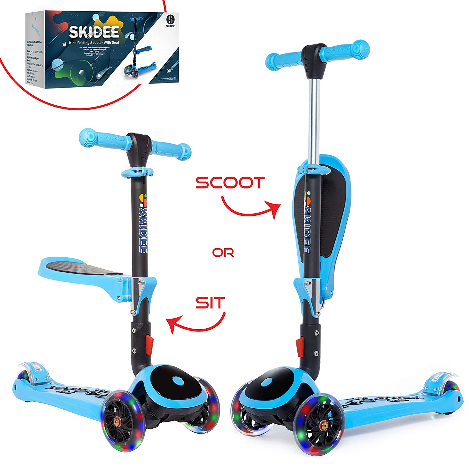 Scooter for Kids with Folding Seat – New 2 in 1 Adjustable 3 Wheel Kick Scooter for Toddlers Girls Boys – Fun Outdoor Toys for Kids Fitness Outside Games Kid Activities – Boy Girl Toys – Y200