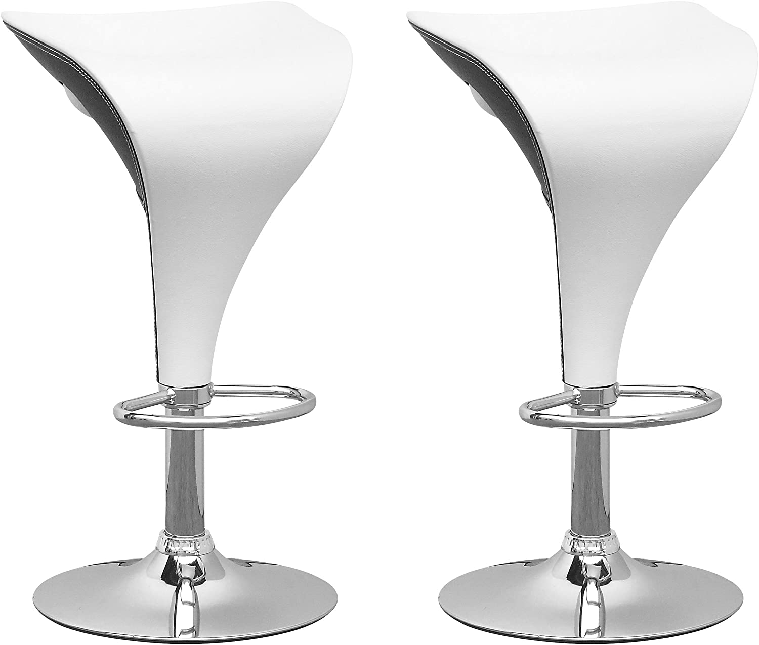 CorLiving Adjustable Bar stool, White Black,
