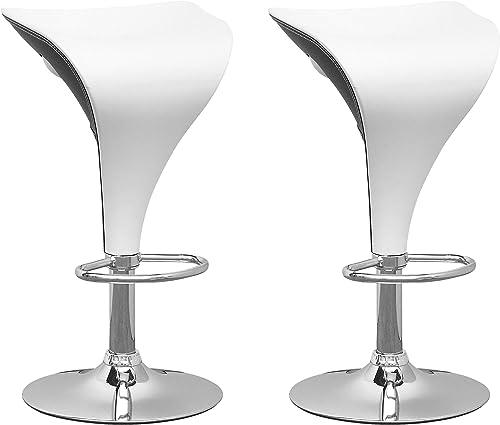 CorLiving Adjustable Bar stool, White Black,