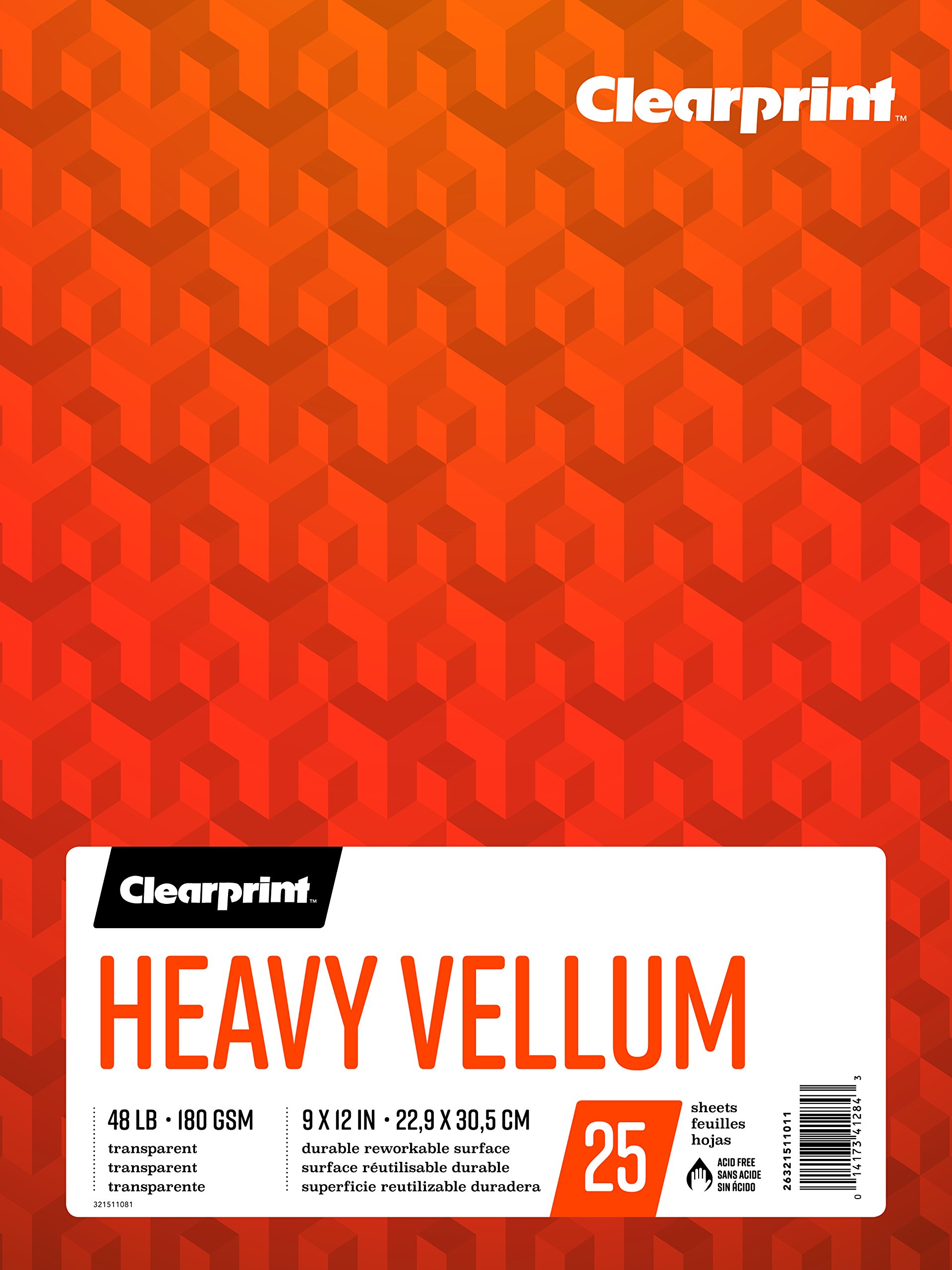 Clearprint Heavy Vellum Pad, 48 LB, 180 GSM, 9 x 12 Inches, 25 Sheets Per Pad, 1 Each (26321511011) by Clearprint