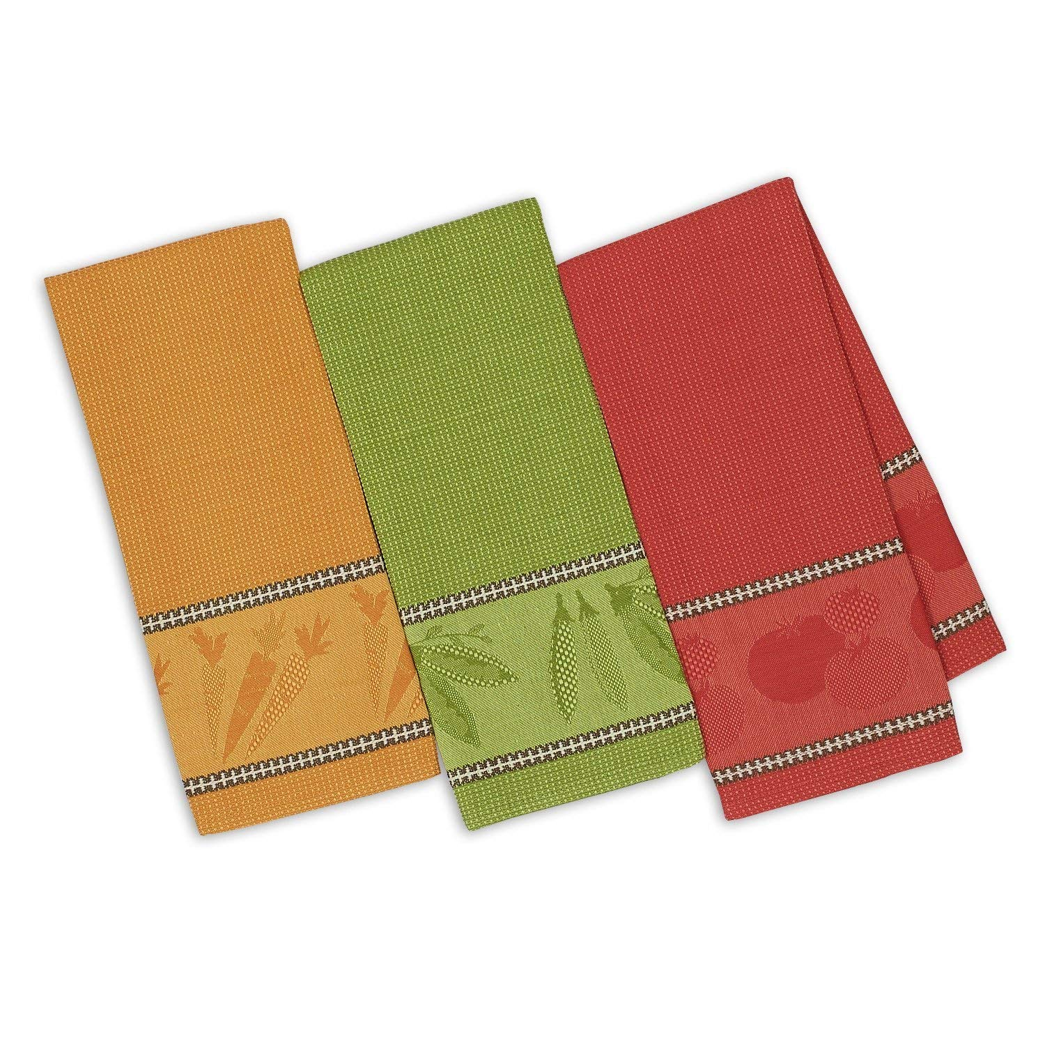 Design Imports DII Jacquard Dish Towels Veggie Garden Set of 3 Coral Green Yellow
