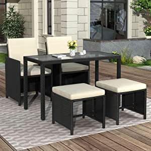 Tulib 5 Piece Patio Furniture Dining Set, Outdoor PE Wicker Rattan Chairs Conversation with Glass Table, Cushions and Ottoman for Lawn, Garden, Backyard (Beige)