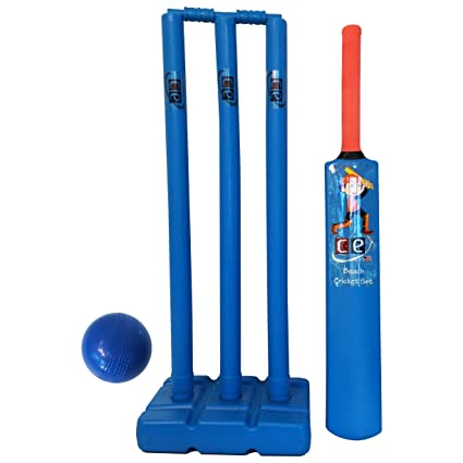 Ce Cricket Equipment Usa Beach Cricket Set For Kids Plastic Water Proof Contents Bat Ball Stumps Bail And Carrying Bag Kids Size 4