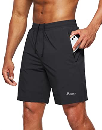 Pudolla Men's Workout Running Shorts Lightweight Gym Athletic Shorts for Men with Zipper Pockets