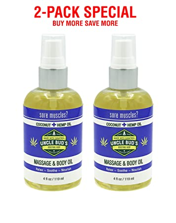 Uncle Bud s 2-Pack Special – Massage Oil Coconut Hemp – for Relaxing Massage,Body oil,Moisturizing Skin and Sore Muscle Relief