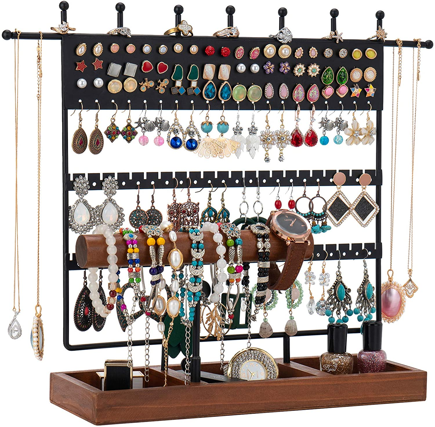 Jewelry Stand Earring Stand QILICHZ Earring Organizer 124 Holes Earring Holder T bar Jewelry Holder Jewelry Organizer Jewelry Tower Rack with Wooden Tray for Home Use and Jewelry Display 124 holes, Black
