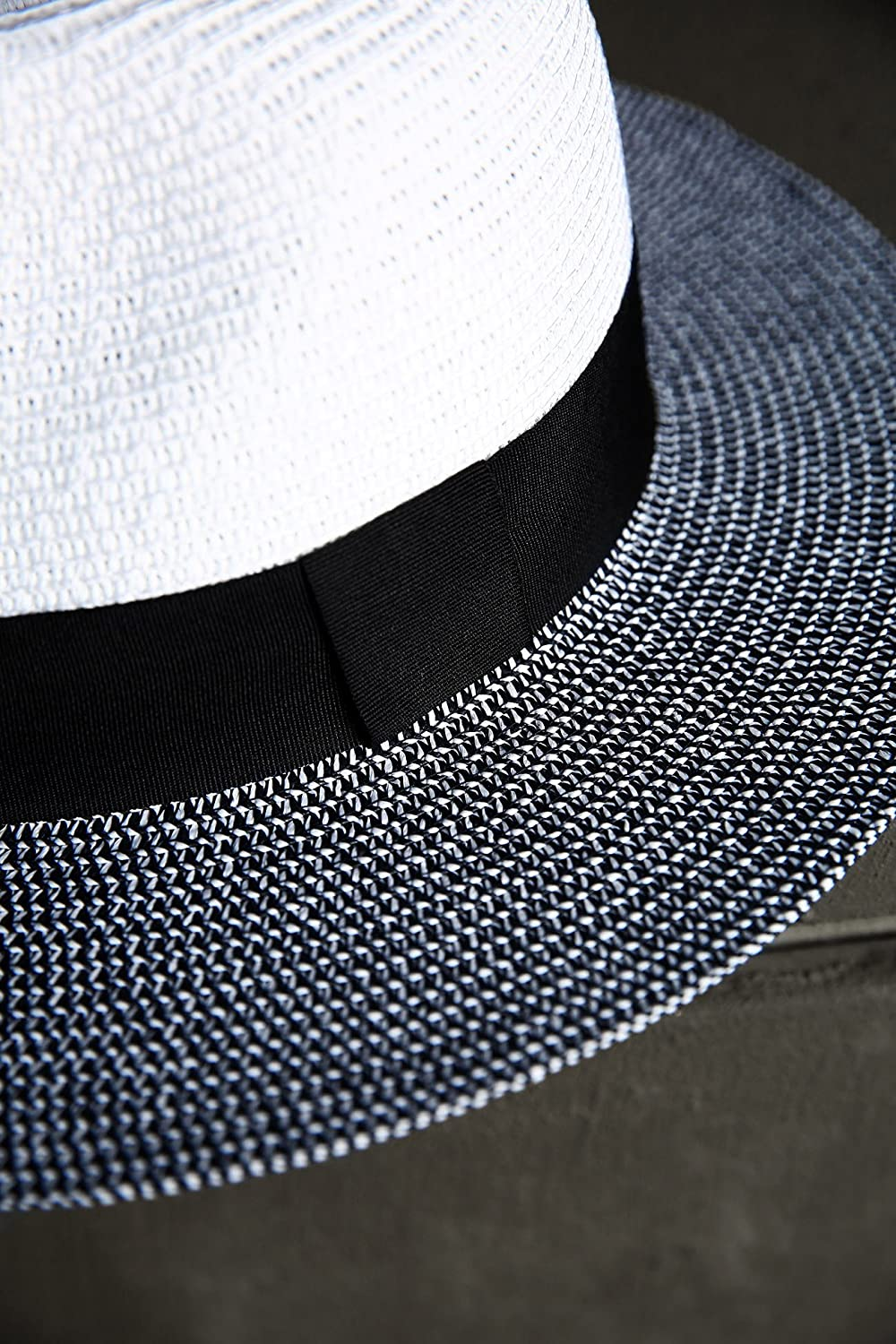 ByTheR Men s Dual Tone Panama Straw Mountain Fedora Summer Fashion Casual  Hat White  Amazon.ca  Clothing   Accessories dfc16cc6c72a